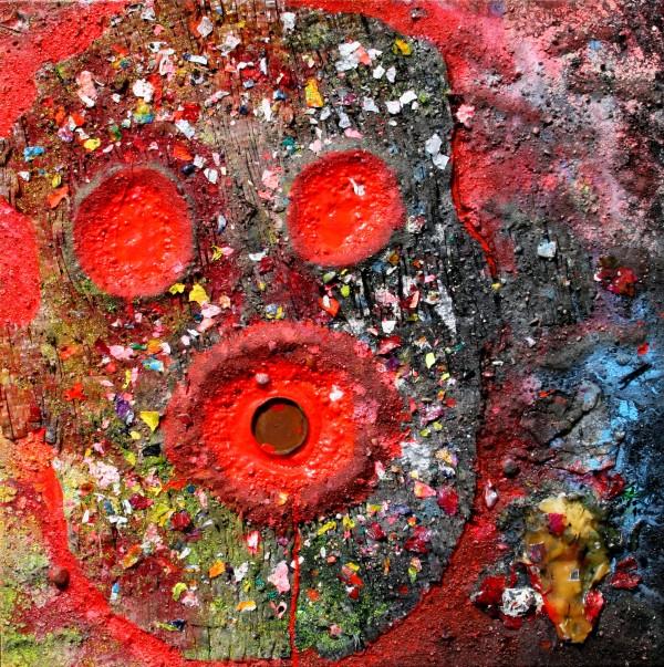 """DER LICHTFRESSER"" 80 cm x 80 cm Acrylic with sand, glass and cardboard"