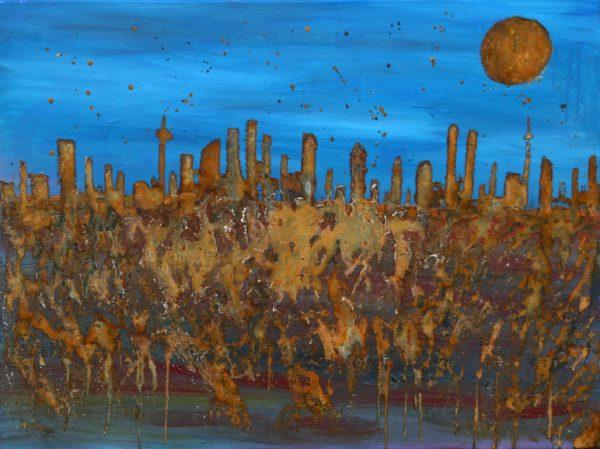 """""""Gebaut auf Vergänglichkeit"""" Oil with rust on canvas"""