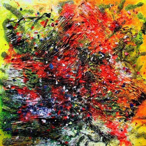 """HASENJAGD II"" 100 cm x 100 cm Acrylic with sand, glass and cardboard"