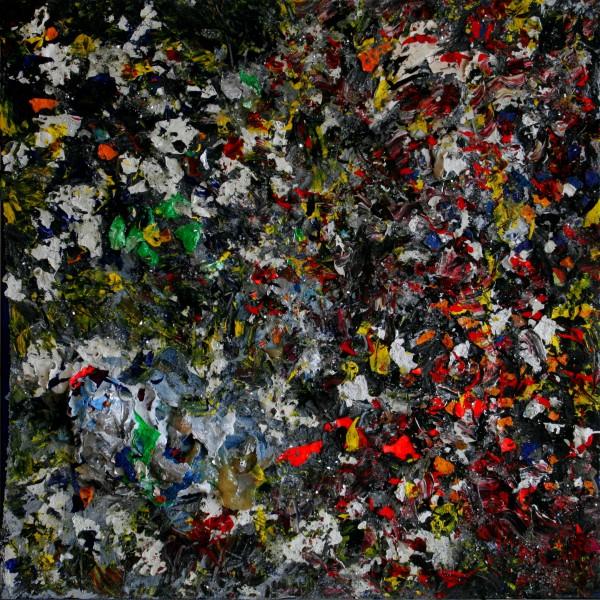 """HASENJAGD I"" 100 cm x 100 cm Acrylic with sand and glass"