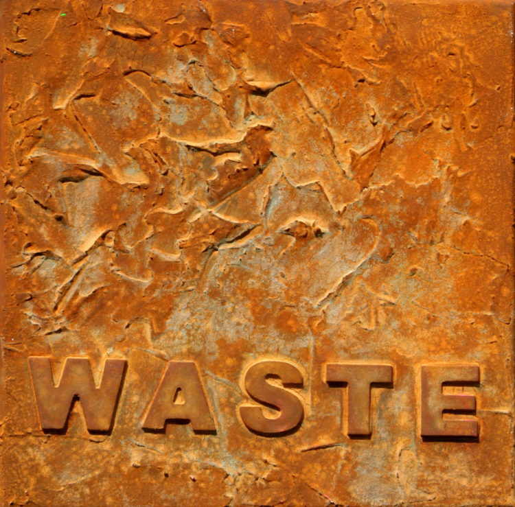 """WASTE 1"" 30 cm x 30 cm Acrylic with rust"
