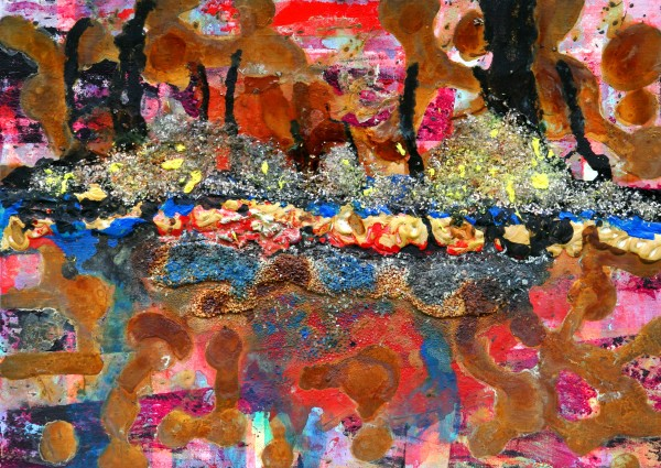 """""""17"""" 50 cm x 65 cm Acrylic with glass, salt and rust"""
