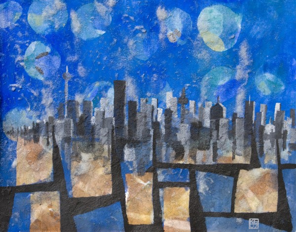 """Skyline 2"" Watercolor mixed media"