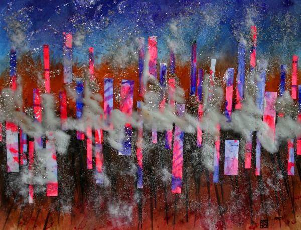 """Skyline 6"" Watercolor mixed media"