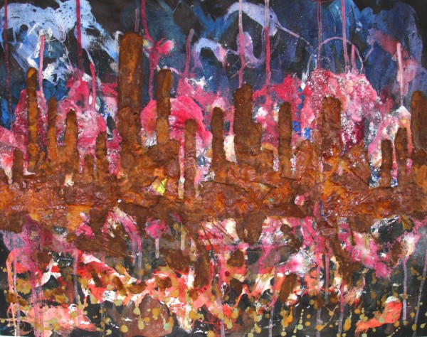 """Skyline 5"" Watercolor mixed media"